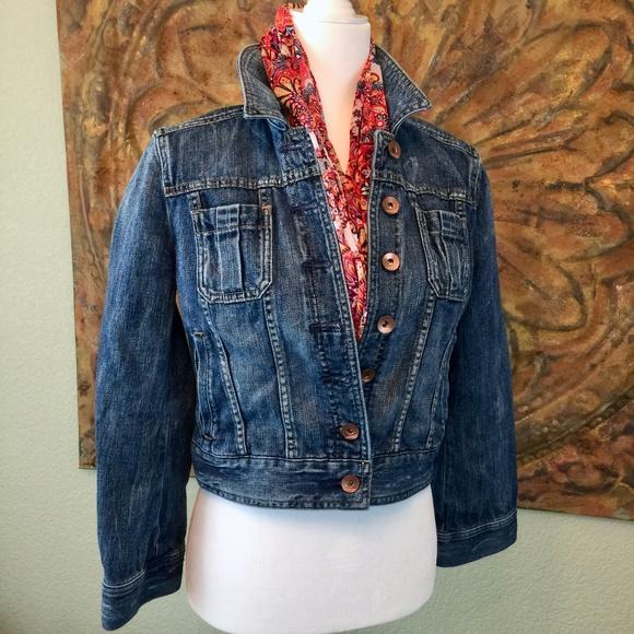 4e52bdd8e9 Express Jackets   Blazers - Express crop jean jacket leopard pocket  distressed
